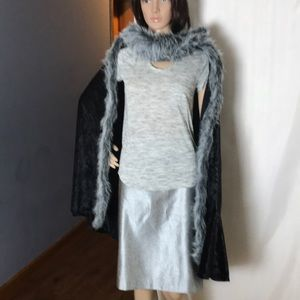 Chasing Fireflies Faux Fur Trimmed Cape
